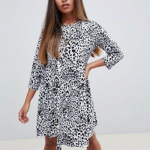 ASOS PETITE black+white leopard babydoll dress